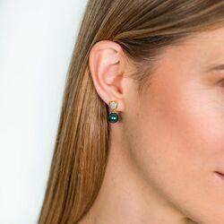 Zinzi vergulde oorstekers groen zirkonia ZIO1151GG