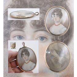 damesportretje ivoor met goud montuurtje