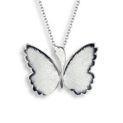 Nicole Barr ketting met vlinder black & white