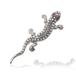 Salamander broche pareltjes robijn zilver