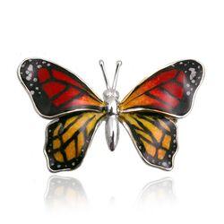 Zilveren vlinder broche gekleurd emaille