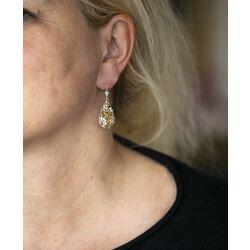 Zilveren oorbellen met citrien en quartz