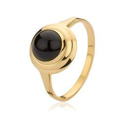 Geelgouden ring met onyx
