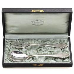 Gemberbestek waaier zilver in etui