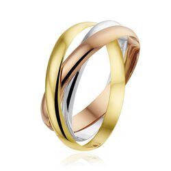 Tricolor 14 karaats gouden ring