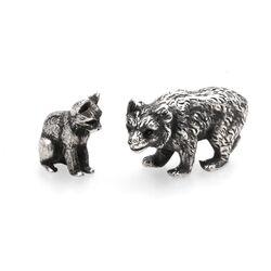 Zilveren miniatuur beer en een zilveren poes, occasion