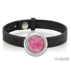 Zwart leren armband met roze agaat MY iMenso
