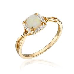 Elements Gold ring met opaal en diamant GR569W