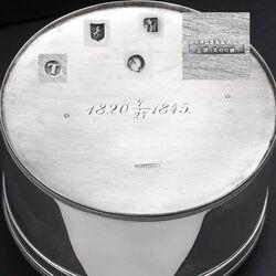 Stel zilveren koektrommels Jacob Helweg 1845