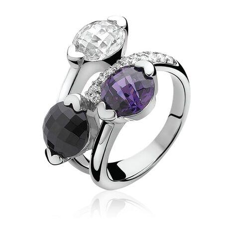 Zinzi ring paars zwart wit zir270p