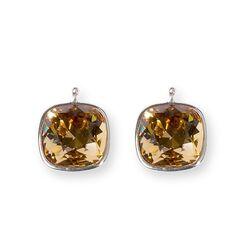 Heide Heinzendorff vierkante aanhangers bruin Swarovski Crystal E29
