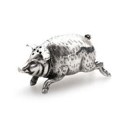 zilveren strooibus varken tafelstuk