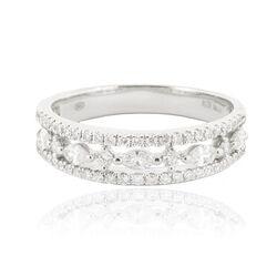 Witgouden ring opengewerkt met briljanten en markies geslepen diamanten