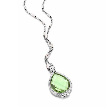 MY iMenso set Goccia medaillon groene steen cilindro ketting