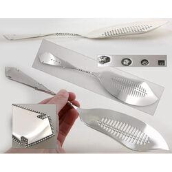Zilveren visschep model parelrand