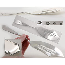 Kleine zilveren visschep model parelrand