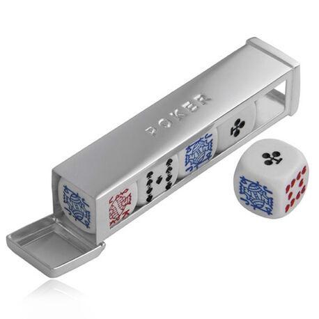 Zilveren houder voor dobbelstenen pokerset Carrs