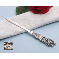 Zilveren briefopener bruidspaar