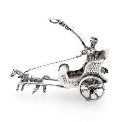 Miniatuur zilveren kar met paard