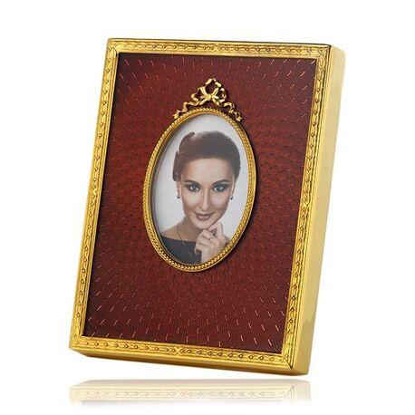 Vergulde fotolijst met rood emaille van Tsars Collection