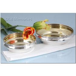 Zilveren presenteerschalen met vergulde binnenkant