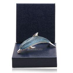 Saturno zilveren miniatuur dolfijn blauw emaille