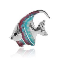 Saturno zilveren miniatuur vis rood-blauw middel