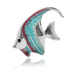 Saturno zilveren miniatuur vis rood-blauw groot