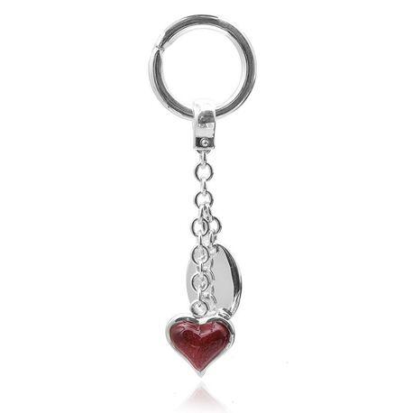 Saturno zilveren sleutelhanger hart rood