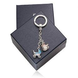 Saturno zilveren sleutelhanger baby blauw