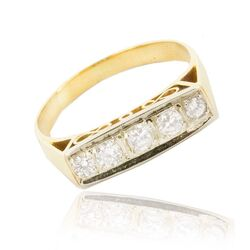 Geelgouden ring 50er jaren diamant