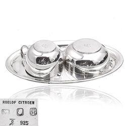 Zilveren roomstel drie delig dienblad melkkan suikerbak Koch & Bergfeld Duitsland