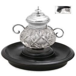 antieke kristallen inktpot met zilveren dop zwart basement 19e eeuw