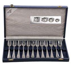12 Zilveren gebaksvorken 11x model 1060 1x 250