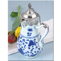Chinees Porseleinen Schenkkan Xilveren Monturen