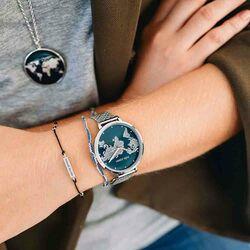 Julie Julsen World horloge donker blauw mesh