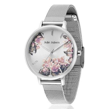 Julie Julsen stalen horloge blossom mesh