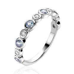 Zinzi zilveren ringen rond wit blauw  ZIR2040