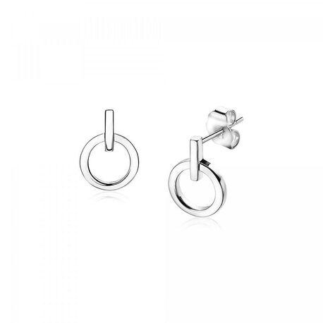 Zinzi zilveren oorknoppen staafje rondje ZIO1692