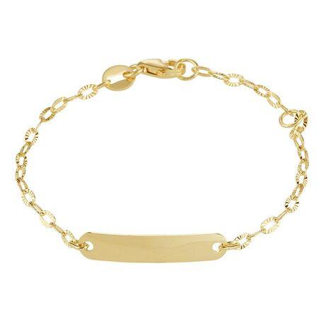 Geelgouden naamplaat armband opgewerkte schakels
