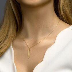Geelgouden collier met ovale hanger