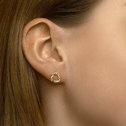 Ronde geelgouden gevlochten oorstekers zirkonia