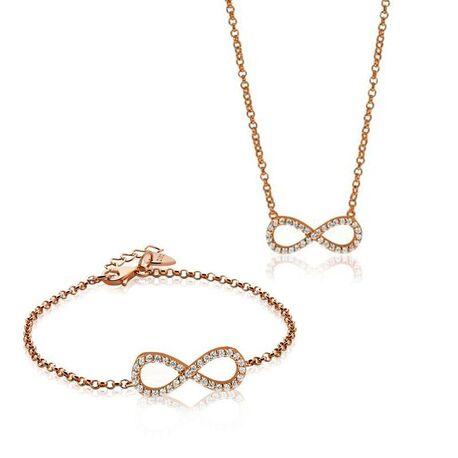 Zinzi set rosé collier en armband infinity zirconia 1065r
