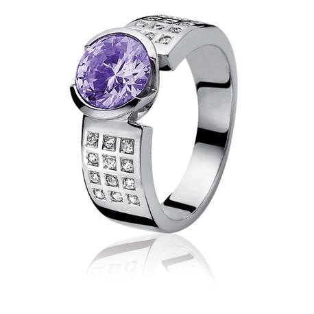 Zinzi ring paars wit zirconia Zir500p