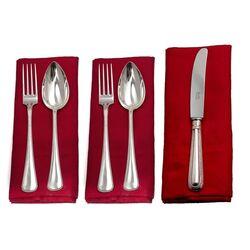 12 zilveren dinercouverts met dinermessen parelrand