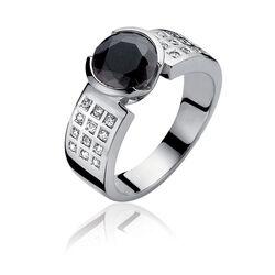 Zinzi ring zwart wit Zirconia Zir500z