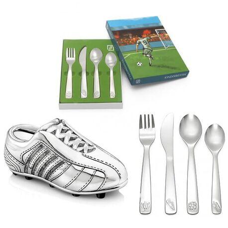 Cadeauset voetbal spaarpot met bestekje