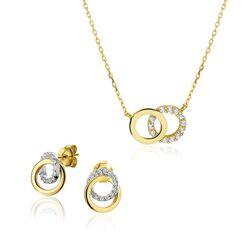 Gouden oorbellen ringen zirkonia