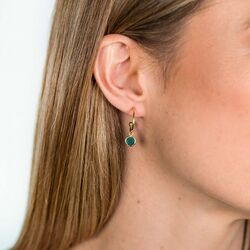 Zinzi vergulde oorbellen groen kleursteen ZIO1935GG