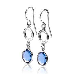 Zinzi zilveren oorhangers blauw ZIO2000